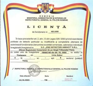 Licenta PRO DETECTIVE AGENCY